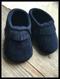 Suede Look Moccasin - Navy Blue