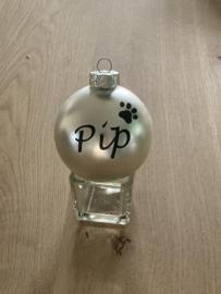 Kerstbal met naam - huisdier pootje
