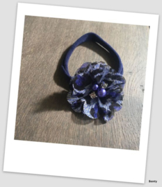 Benty haarbandje - Blauw printje met parel