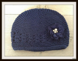 Mutsje Navy Blauw - Pearl & Diamond Navy