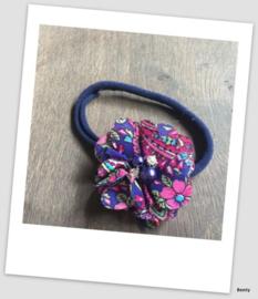 Benty haarbandje - Blauw/fuchsia printje met parel