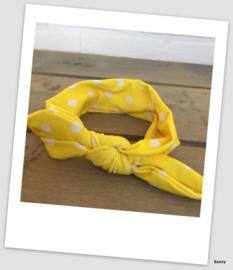 Knoop haarband - Geel - Stip