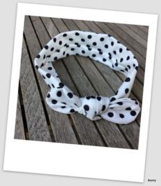 Knoop haarband - Dots - Wit/zwart