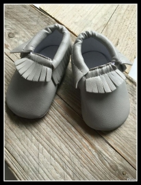 Leather Look Moccasin - Grey