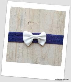 Babyhaarbandje small navy blauw met wit strikje