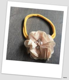 Benty haarbandje - Oker geel met beige