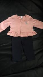 Setje roze vest + blauwe legging - maat 50