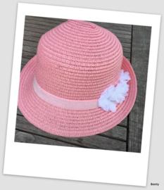 Zomerhoedje - Roze - Glitter elastiek w