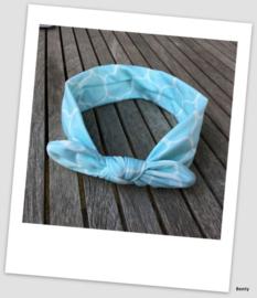 Knoop haarband - Aqua/wit