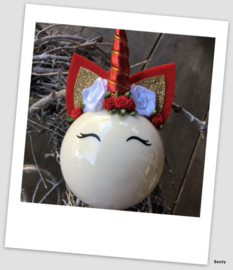 Kerstbal - Unicorn - Rood