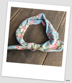 Knoop haarband - Blauw bloemenprint