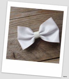 Leather Look Bow - White