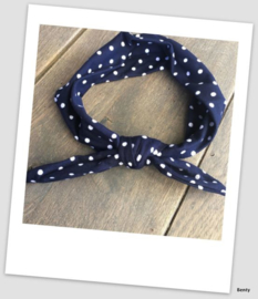 Knoop haarband - Navy polkadot
