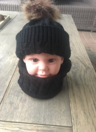 Winter setje - muts en sjaal - zwart