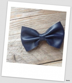 Leather Look Bow - Navy