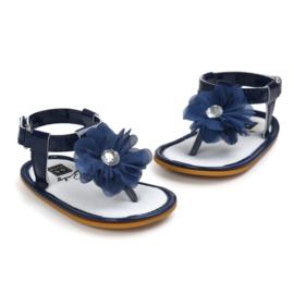 Sandaal -  Bloem - donker blauw