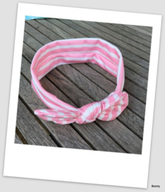 Knoop haarband - Streep - Roze