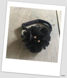 Benty haarbandje - Effen zwart met parel