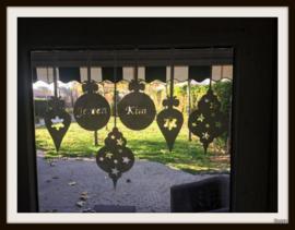 Herbruikbare raamsticker - Kerst - Kerstballen set van 4