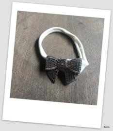 Benty haarbandje - Grijs met pailletten strik