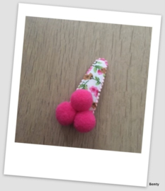 Speldje 5cm -Pompom - Fuchsia bloem