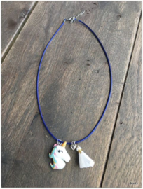 Ketting - Unicorn - Navy/White