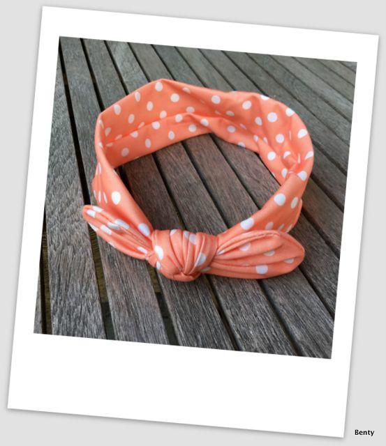 Knoop haarband - Dots - Koraal/oranje