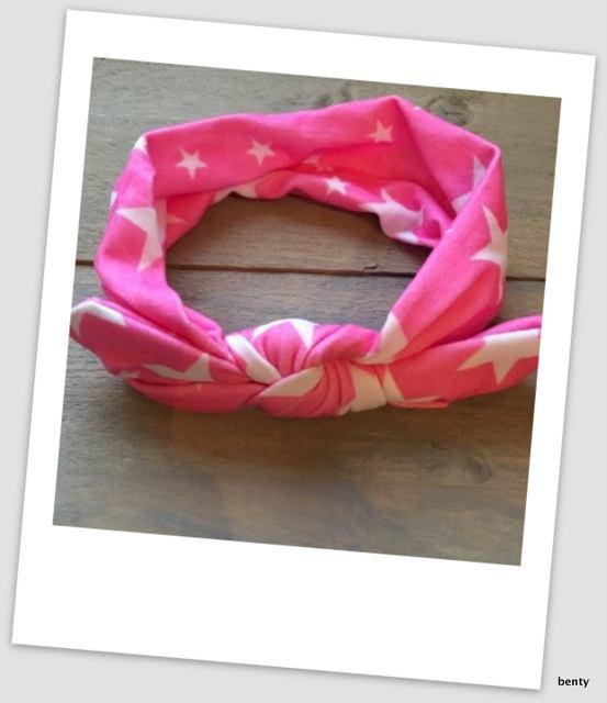 Knoop haarband - Ster - Neon roze