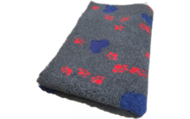 Vet Bed met anti-sliplaag (Antraciet Hartjes Rode Poot)