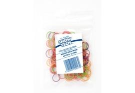 Show Tech Medium (8mm) latex Top Knot elastiekjes voor honden (100 stuks) neon