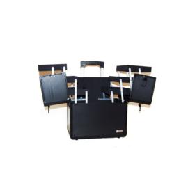 Artero Luxe Trimkoffer in zwart, rubber wieltjes en uittrekbare handgreep