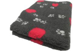 Vet Bed met anti-sliplaag (Antraciet Hartjes Poot)
