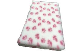 Vet Bed met anti-sliplaag (Wit Roze Poot)