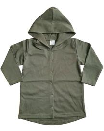 Long hoodie vest army