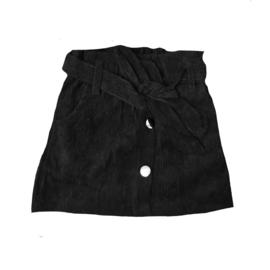 Corduroy button skirt black