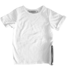 Zipped long tee short sleeves white