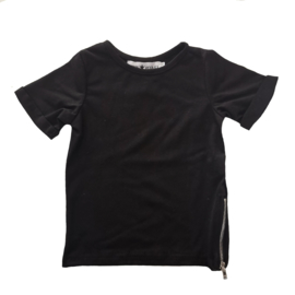 Zipped long tee short sleeves black