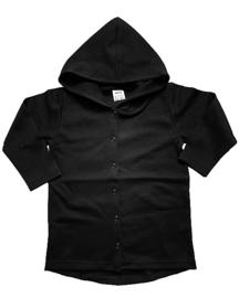 Long hoodie vest black