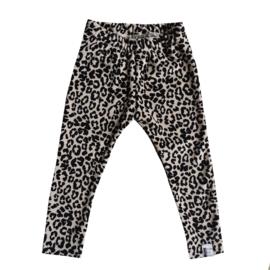 Velours leopard zand legging