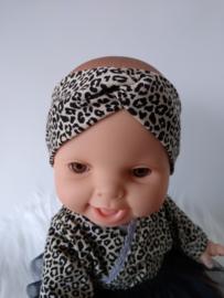 Poppen haarband turban leopard zand