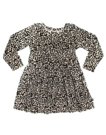Lauren dress velours leopard zand