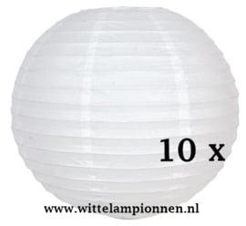 Witte lampionnen 30 cm - 10 stuks