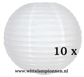 Witte lampionnen 20 cm - 10 stuks