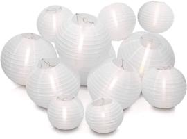 Witte nylon lampionnen pakket 20 stuks