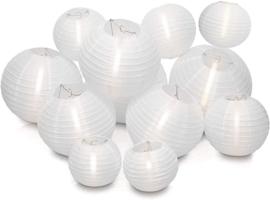 Witte nylon lampionnen pakket 35 stuks