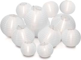 Witte nylon lampionnen pakket 30 stuks