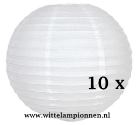 Witte lampionnen  40 cm - 10 stuks
