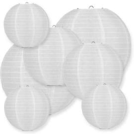 100 witte nylon lampionnen met led verlichting