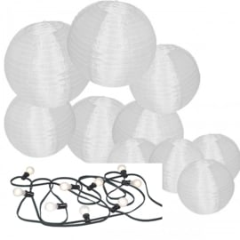 10 nylon lampionnen + prikkabel verlichting