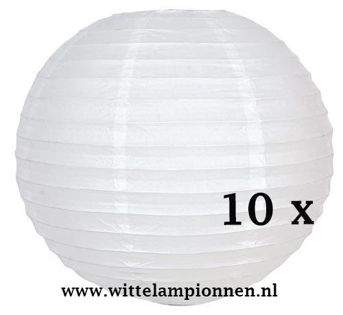 Witte lampionnen 35 cm - 10 stuks